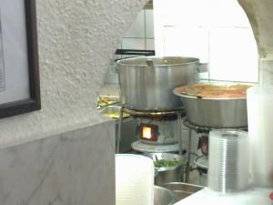 Food at Rachamu. Jerusalem. Kerosene burner.
