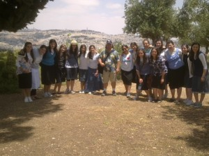 MMY girls and Fun Joel, Israel Tour Guide at the Haas Promenade / Tayelet