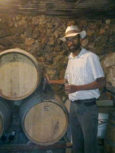 Tanya Winery, Ofra. Tasting from the barrel. Fun Joel Israel Tour Guide.