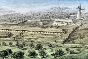 An early drawing of Mishkenot Shaananim, Jerusalem, Israel.