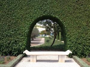 Hedge arch in Akko Baha'i Gardens. Israel.