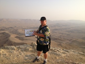 Licensed Israel Tour Guide Joel Haber at the Makhtesh HaGadol / Large Makhtesh