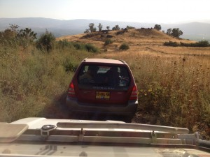 Car in front of our jeep in the Golan Heights