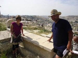 At her great grandfather's grave on the Mount of Olives, Jerusalem