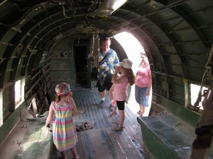 Inside a Dakota C-47 with kids