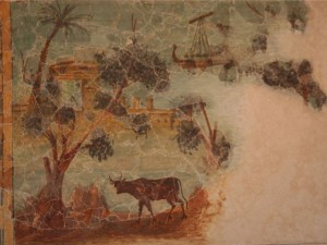 Trees, animals and ships painted on a wall from Herodion.