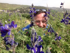 Lupin flowers and Israel tour guide Joel Haber
