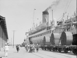 Large steamship in Haifa port in 1933