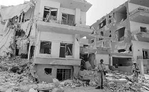 Destroyed building from Yom Kippur War