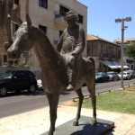 A statue of Meir Dizengoff on his horse